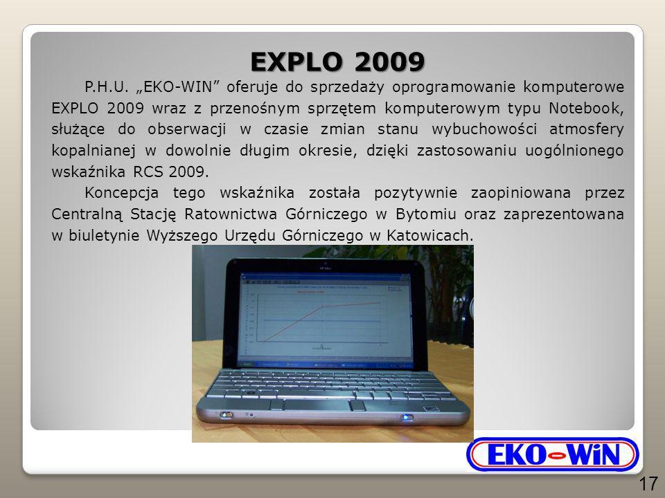 """EXPLO 2009 P.H.U. """"EKO-WIN"""" oferuje do sprzedaży oprogramowanie komputerowe EXPLO 2009 wraz z przenośnym sprzętem komputerowym typu Notebook, służące"""