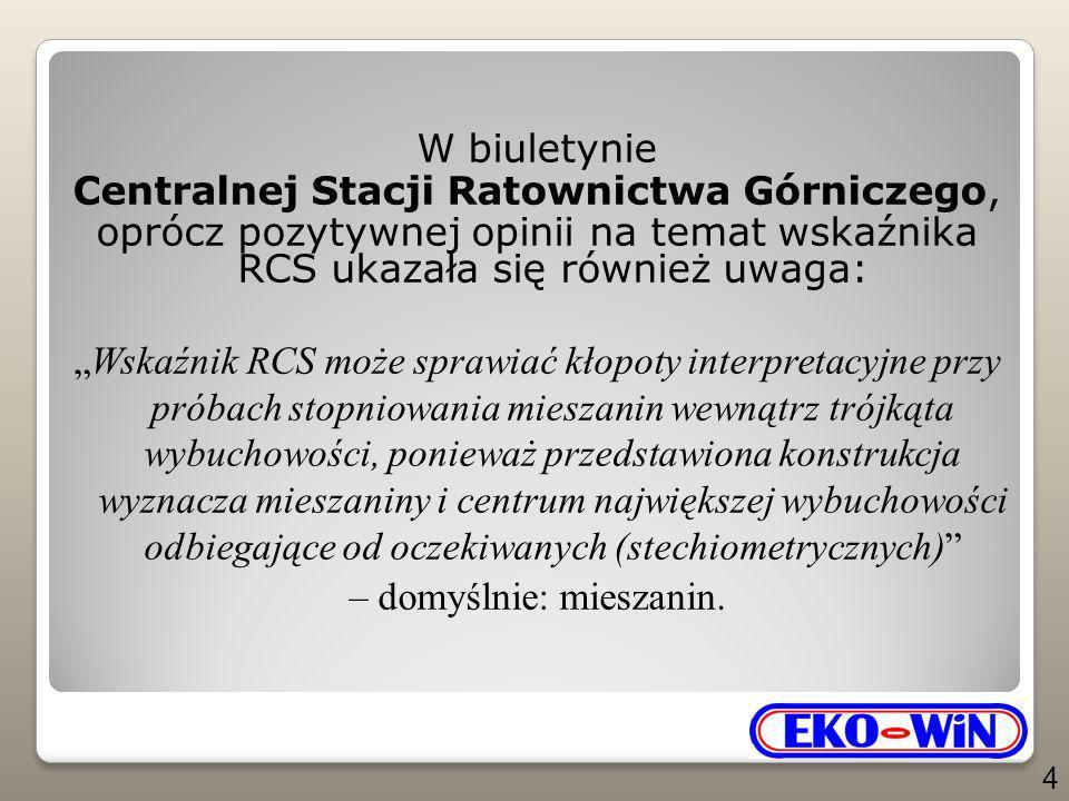 """W biuletynie Centralnej Stacji Ratownictwa Górniczego, oprócz pozytywnej opinii na temat wskaźnika RCS ukazała się również uwaga: """"Wskaźnik RCS może s"""