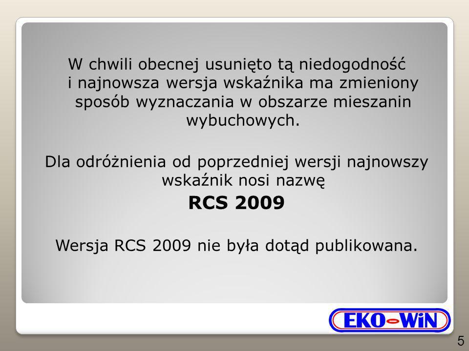 Koncepcja wskaźnika wybuchowości RCS 2009 Mimo, iż koncepcja wskaźnika RCS 2009 uległa zmianie względem RCS jedynie dla punktów analizy znajdujących się wewnątrz trójkąta wybuchowości (obszar 3), jednakże dla zachowania całości zagadnienia podane zostaną poniżej zasady konstrukcji we wszystkich obszarach.