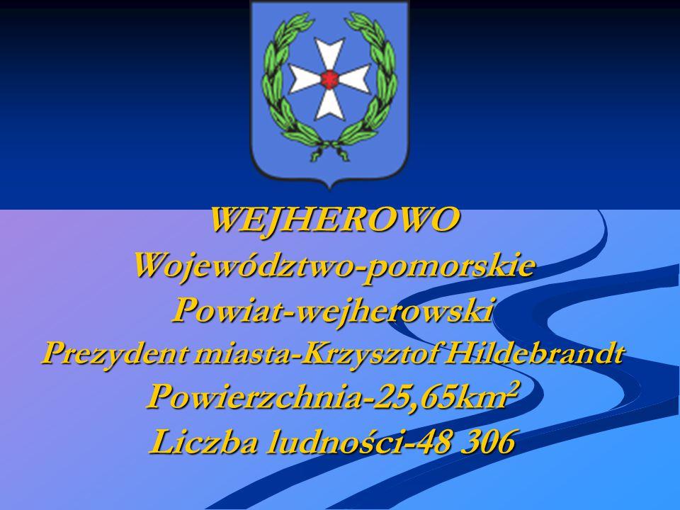 WEJHEROWO Województwo-pomorskie Powiat-wejherowski Prezydent miasta-Krzysztof Hildebrandt Powierzchnia-25,65km 2 Liczba ludności-48 306