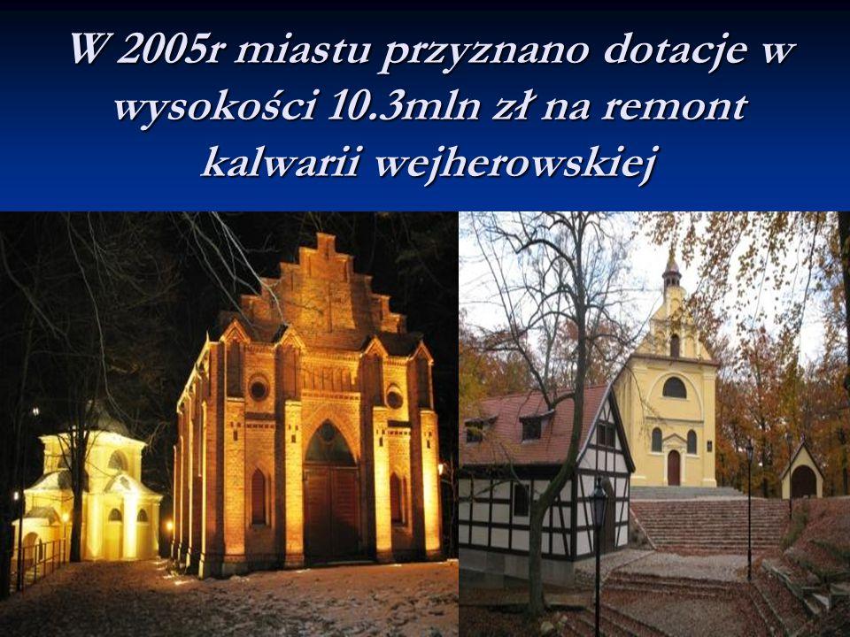 W 2005r miastu przyznano dotacje w wysokości 10.3mln zł na remont kalwarii wejherowskiej