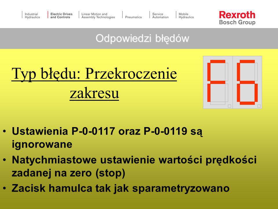 Typ błędu: Krytyczny Reakcja napędu nie jest możliwa Ustawienia P-0-0117 oraz P-0-0119 są ignorowane Natychmiastowe odcięcie silnika (zwolnienie momen