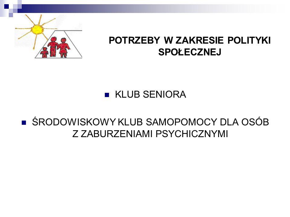 POTRZEBY W ZAKRESIE POLITYKI SPOŁECZNEJ KLUB SENIORA ŚRODOWISKOWY KLUB SAMOPOMOCY DLA OSÓB Z ZABURZENIAMI PSYCHICZNYMI