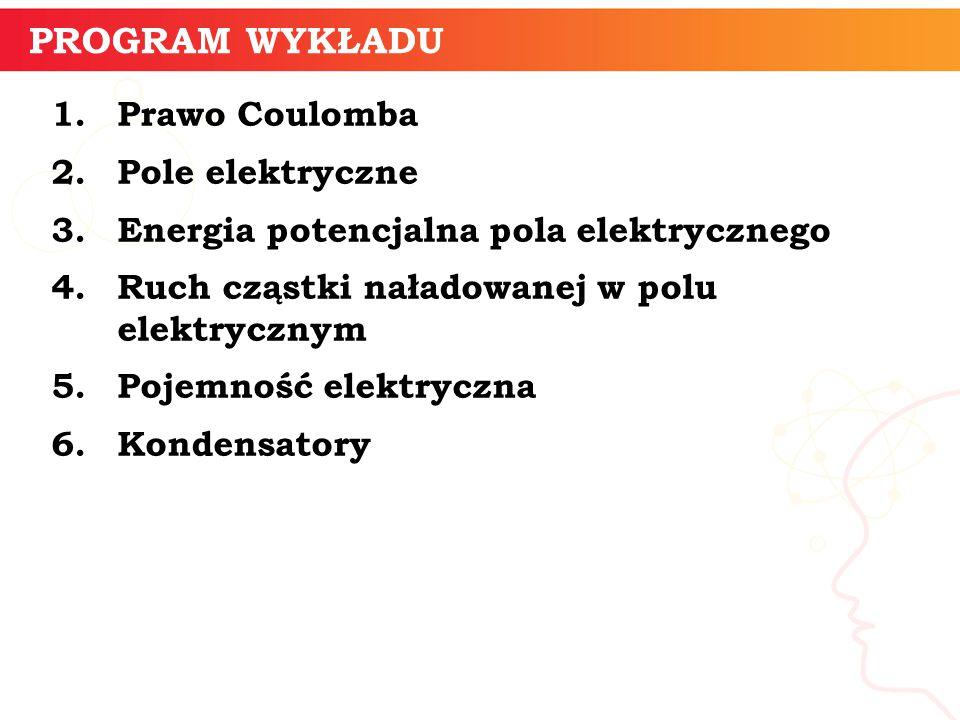 PROGRAM WYKŁADU 1.Prawo Coulomba 2. Pole elektryczne 3.