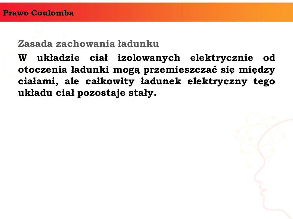 Prawo Coulomba Zasada zachowania ładunku W układzie ciał izolowanych elektrycznie od otoczenia ładunki mogą przemieszczać się między ciałami, ale całkowity ładunek elektryczny tego układu ciał pozostaje stały.