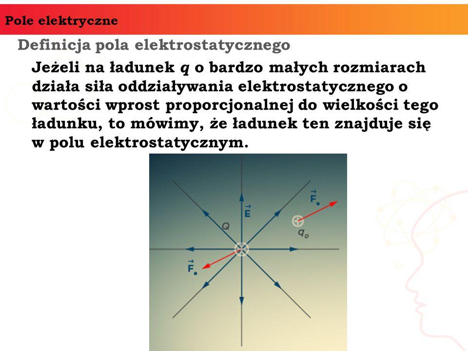 Pole elektryczne Definicja pola elektrostatycznego Jeżeli na ładunek q o bardzo małych rozmiarach działa siła oddziaływania elektrostatycznego o wartości wprost proporcjonalnej do wielkości tego ładunku, to mówimy, że ładunek ten znajduje się w polu elektrostatycznym.