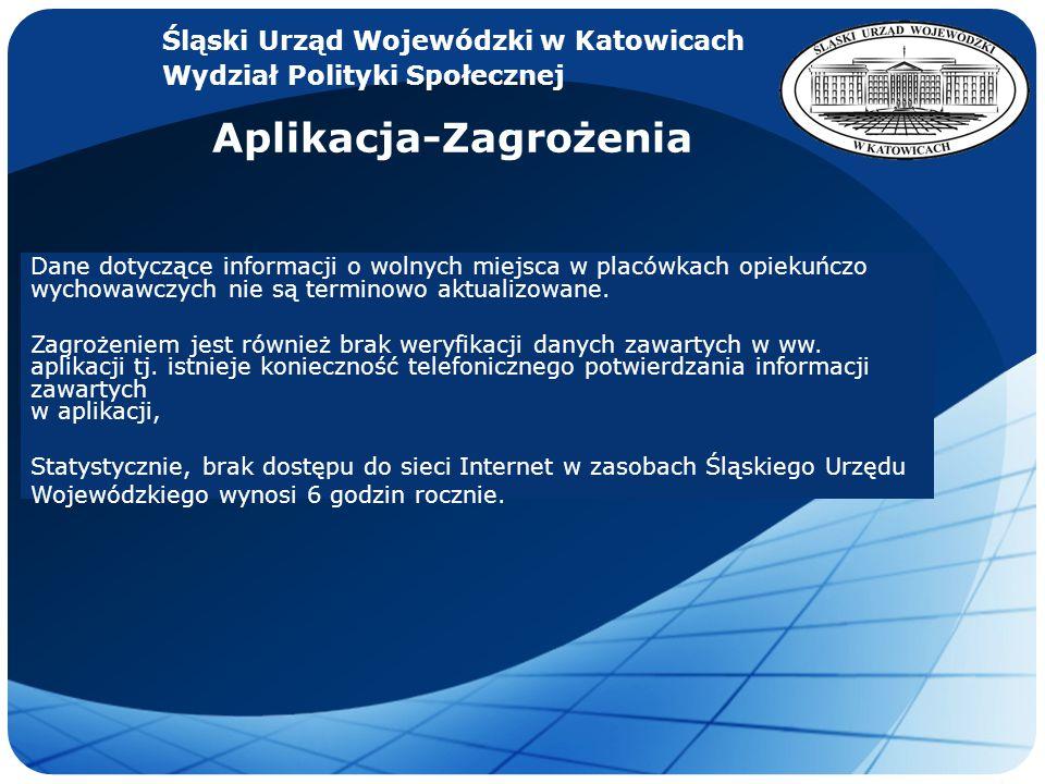 LOGO Śląski Urząd Wojewódzki w Katowicach Wydział Polityki Społecznej Aplikacja-Zagrożenia Dane dotyczące informacji o wolnych miejsca w placówkach opiekuńczo wychowawczych nie są terminowo aktualizowane.