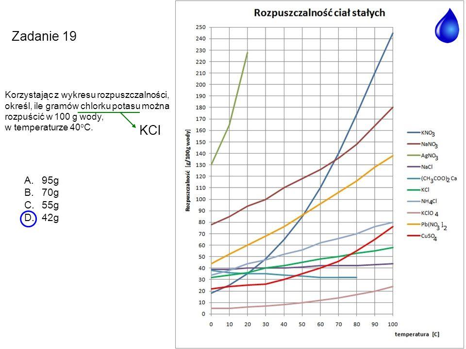 A.95g B.70g C.55g D.42g Zadanie 19 Korzystając z wykresu rozpuszczalności, określ, ile gramów chlorku potasu można rozpuścić w 100 g wody, w temperatu