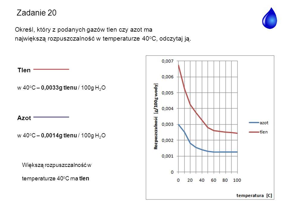 Tlen w 40 o C – 0,0033g tlenu / 100g H 2 O Azot w 40 o C – 0,0014g tlenu / 100g H 2 O Większą rozpuszczalność w temperaturze 40 o C ma tlen Zadanie 20
