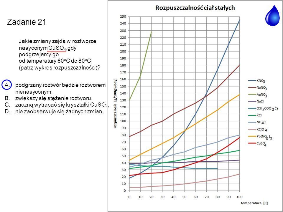 Zadanie 21 Jakie zmiany zajdą w roztworze nasyconym CuSO 4,gdy podgrzejemy go od temperatury 60 o C do 80 o C (patrz wykres rozpuszczalności)? A.podgr