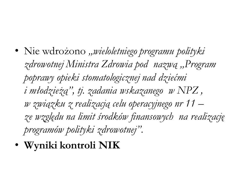 """Nie wdrożono """"wieloletniego programu polityki zdrowotnej Ministra Zdrowia pod nazwą """"Program poprawy opieki stomatologicznej nad dziećmi i młodzieżą"""","""