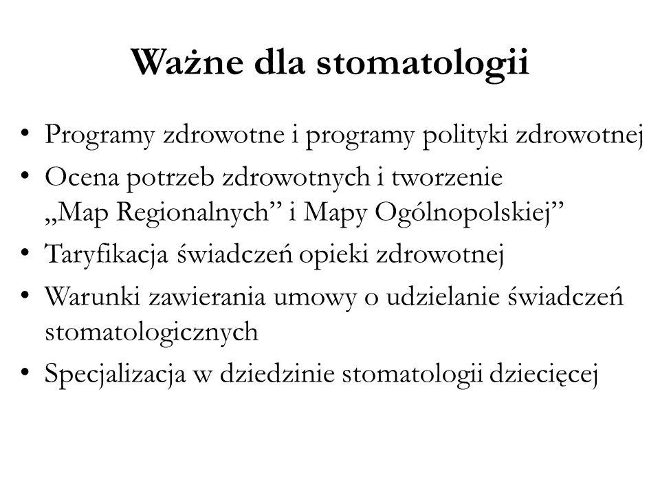 """Ważne dla stomatologii Programy zdrowotne i programy polityki zdrowotnej Ocena potrzeb zdrowotnych i tworzenie """"Map Regionalnych"""" i Mapy Ogólnopolskie"""