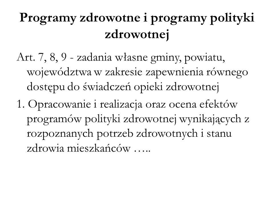 Programy zdrowotne i programy polityki zdrowotnej Art. 7, 8, 9 - zadania własne gminy, powiatu, województwa w zakresie zapewnienia równego dostępu do