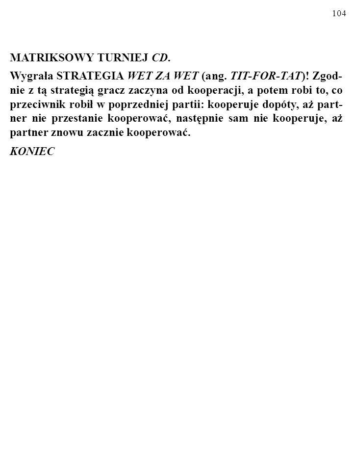 104 MATRIKSOWY TURNIEJ CD.Wygrała STRATEGIA WET ZA WET (ang.