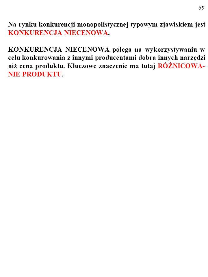 65 Na rynku konkurencji monopolistycznej typowym zjawiskiem jest KONKURENCJA NIECENOWA.