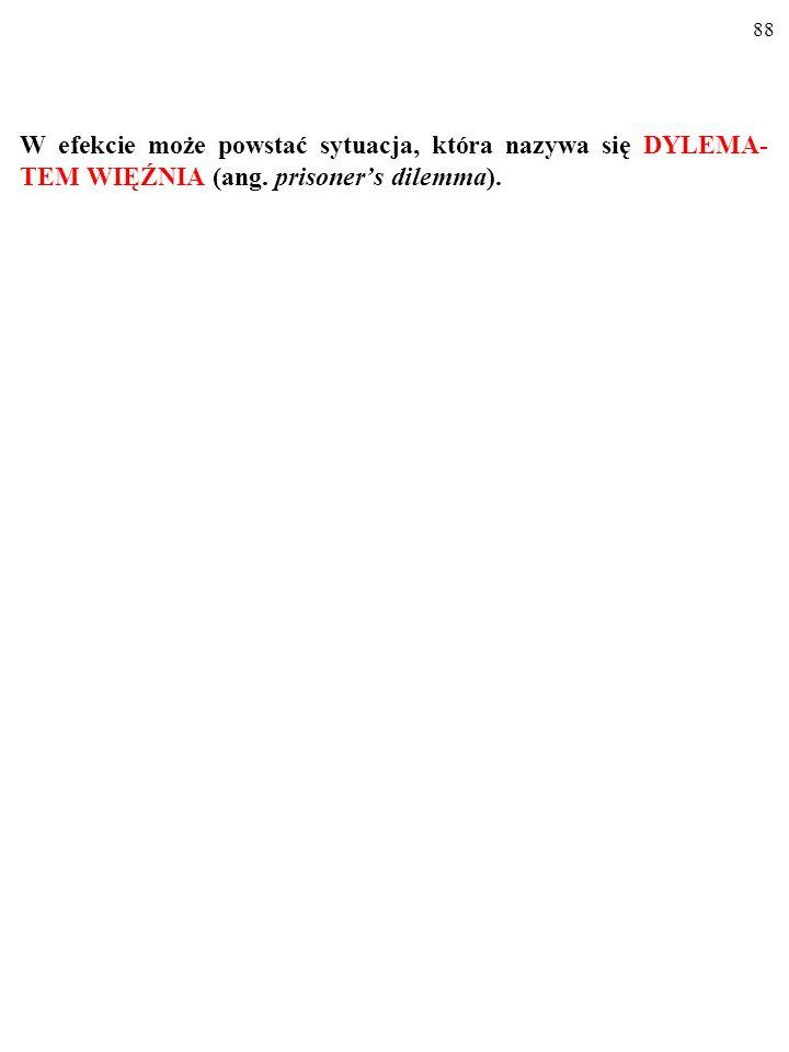 88 W efekcie może powstać sytuacja, która nazywa się DYLEMA- TEM WIĘŹNIA (ang. prisoner's dilemma).