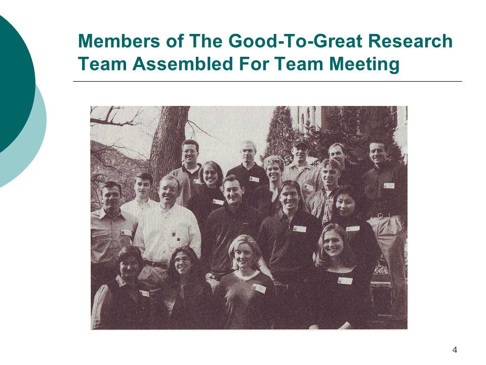 """5 Zakres pracy """" Good to Great  5-cio letnie badania Jima Collinsa oraz zespołu studentów z Uniwersytetu Colorado  15 tysięcy godzin pracy nad pytaniem: Jak firma sama może sobie pomóc w przeobrażeniu z dobrej w wielką."""