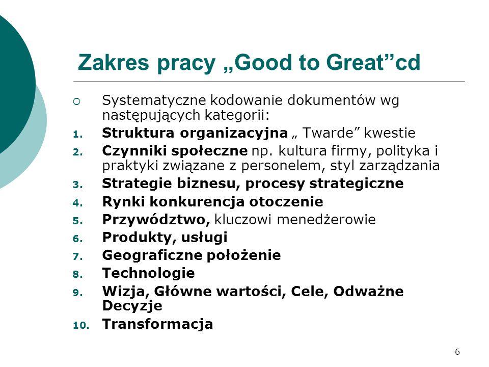 """6 Zakres pracy """"Good to Great cd  Systematyczne kodowanie dokumentów wg następujących kategorii: 1."""