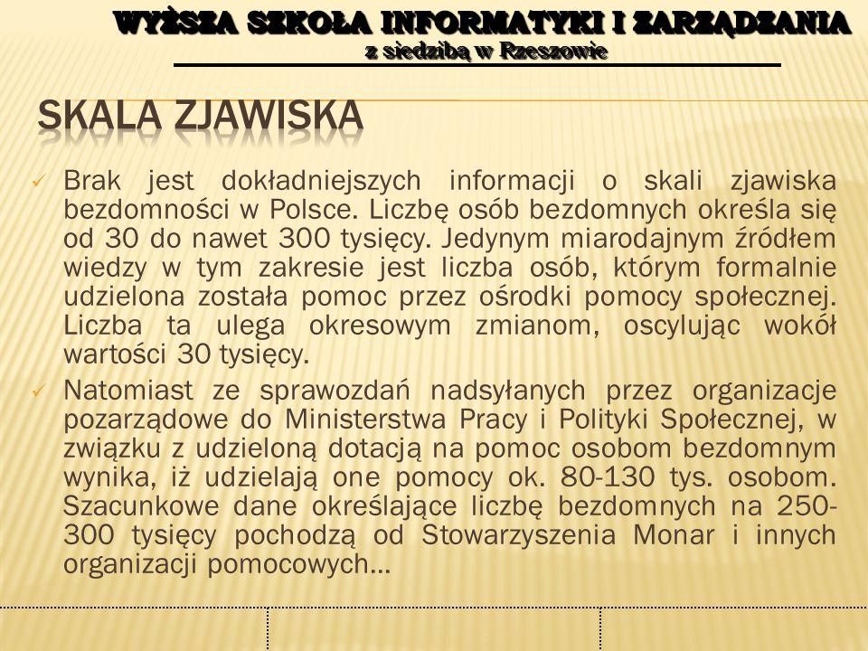 WYŻSZA SZKOŁA INFORMATYKI I ZARZĄDZANIA z siedzibą w Rzeszowie WYŻSZA SZKOŁA INFORMATYKI I ZARZĄDZANIA z siedzibą w Rzeszowie Brak jest dokładniejszych informacji o skali zjawiska bezdomności w Polsce.