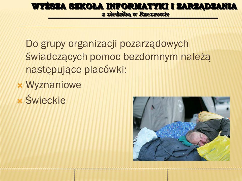 WYŻSZA SZKOŁA INFORMATYKI I ZARZĄDZANIA z siedzibą w Rzeszowie WYŻSZA SZKOŁA INFORMATYKI I ZARZĄDZANIA z siedzibą w Rzeszowie Do grupy organizacji pozarządowych świadczących pomoc bezdomnym należą następujące placówki:  Wyznaniowe  Świeckie