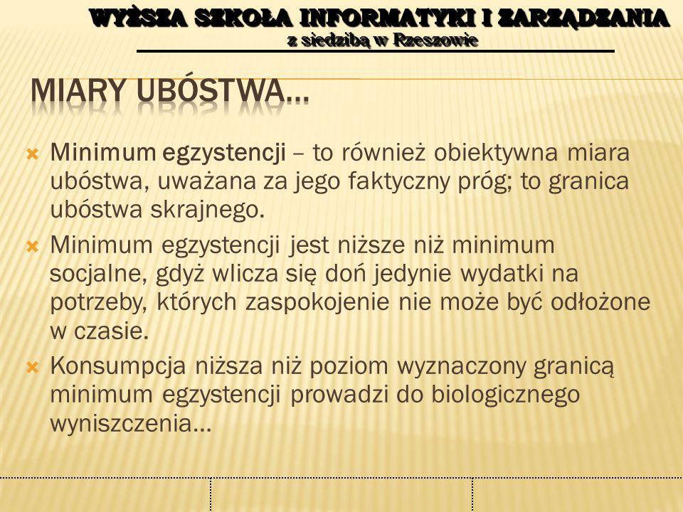 WYŻSZA SZKOŁA INFORMATYKI I ZARZĄDZANIA z siedzibą w Rzeszowie WYŻSZA SZKOŁA INFORMATYKI I ZARZĄDZANIA z siedzibą w Rzeszowie  Ubóstwo relatywne – jego granicę wyznacza pewien procent mediany lub średnich wydatków gospodarstw domowych (w Polsce, wg Głównego Urzędu Statystycznego, to 50% ogółu średnich wydatków gospodarstw domowych  Oficjalna granica ubóstwa (administracyjna): w Polsce wyznacza ją wysokość minimalnej emerytury; od tego zależy przyznawanie praw do pobierania określonych zasiłków (w Polsce minimalna emerytura wynosi od marca 844,45 zł miesięcznie); miara ta różni się pozostałych, gdyż jej podstawą jest wysokość dochodów, a nie wydatków