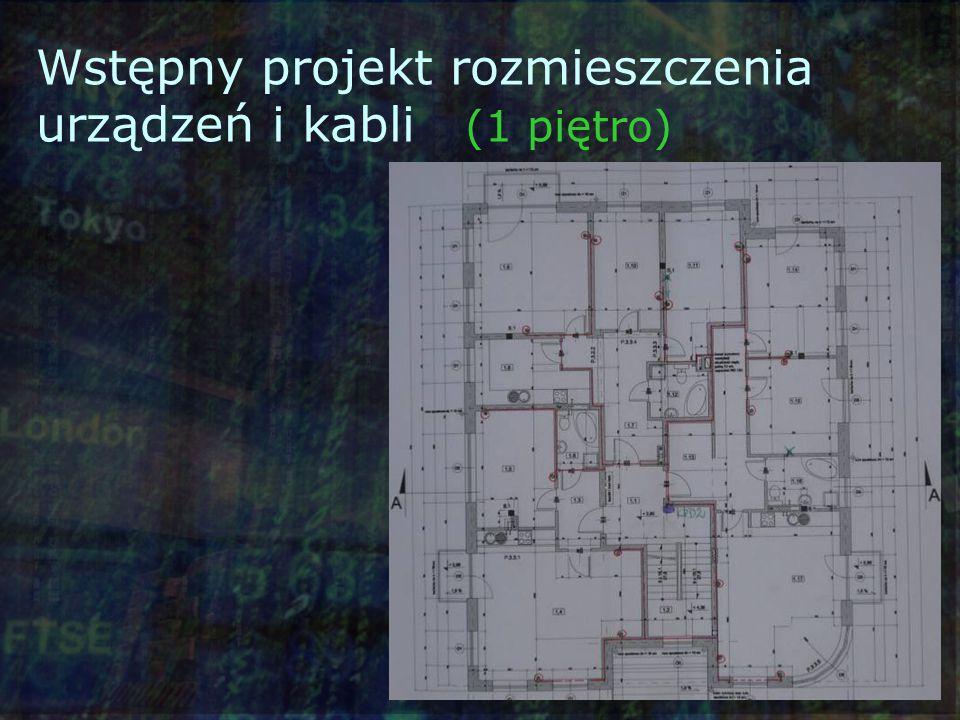 Wstępny projekt rozmieszczenia urządzeń i kabli (1 piętro)