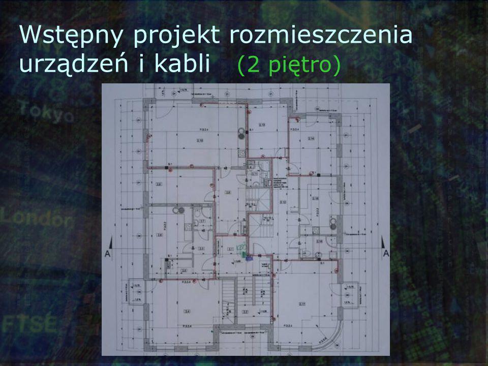 Wstępny projekt rozmieszczenia urządzeń i kabli (2 piętro)
