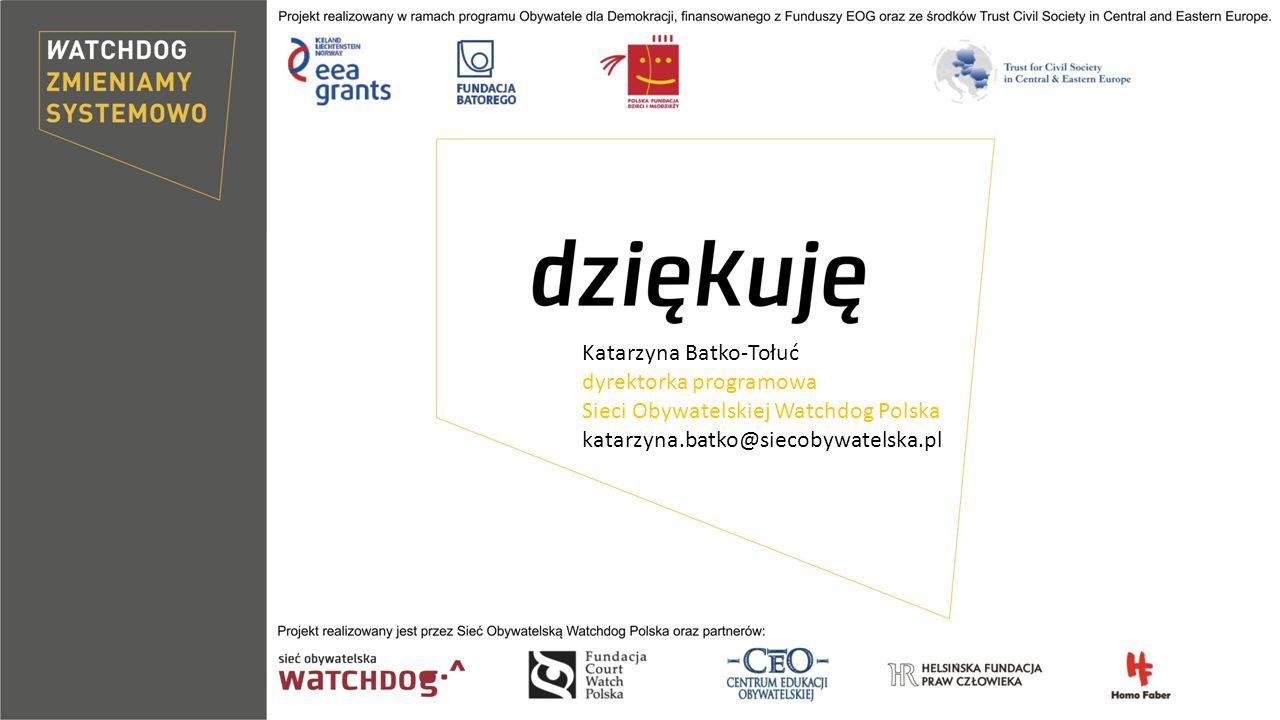 Katarzyna Batko-Tołuć dyrektorka programowa Sieci Obywatelskiej Watchdog Polska katarzyna.batko@siecobywatelska.pl