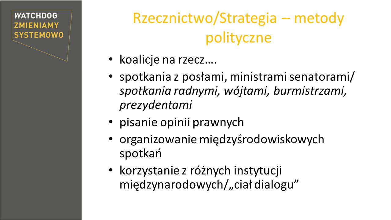 Rzecznictwo/Strategia – metody polityczne koalicje na rzecz….