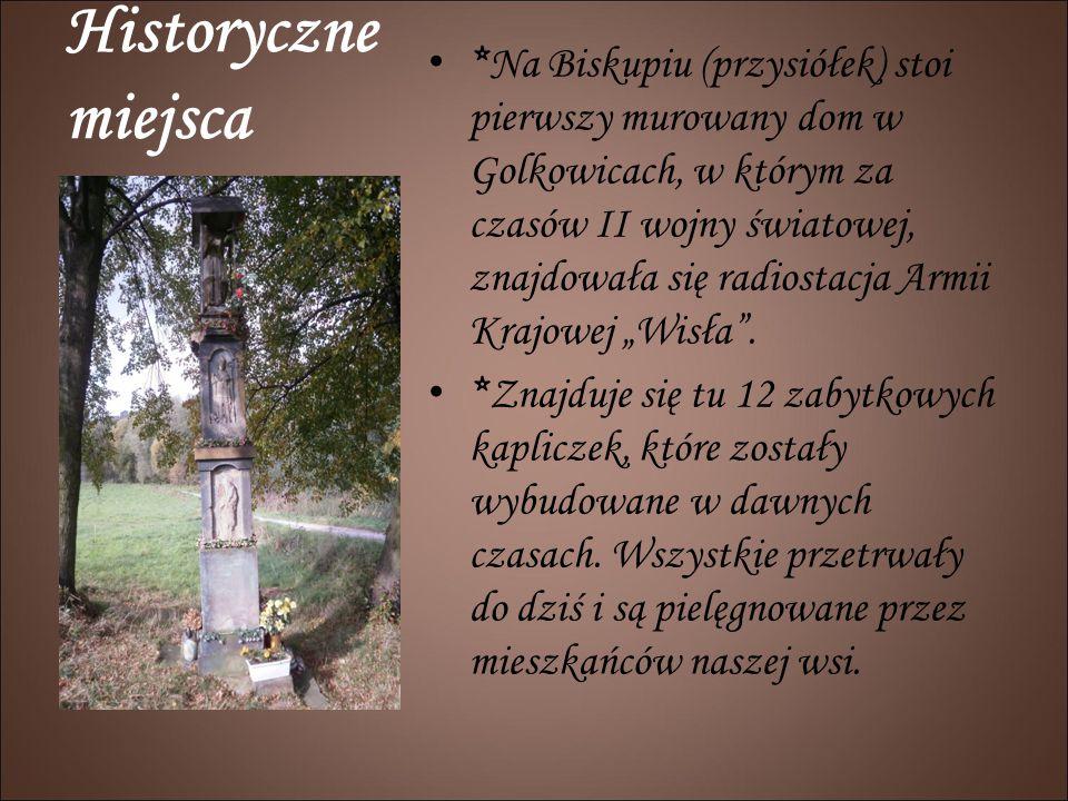 Historyczne miejsca *Na Biskupiu (przysiółek) stoi pierwszy murowany dom w Golkowicach, w którym za czasów II wojny światowej, znajdowała się radiosta