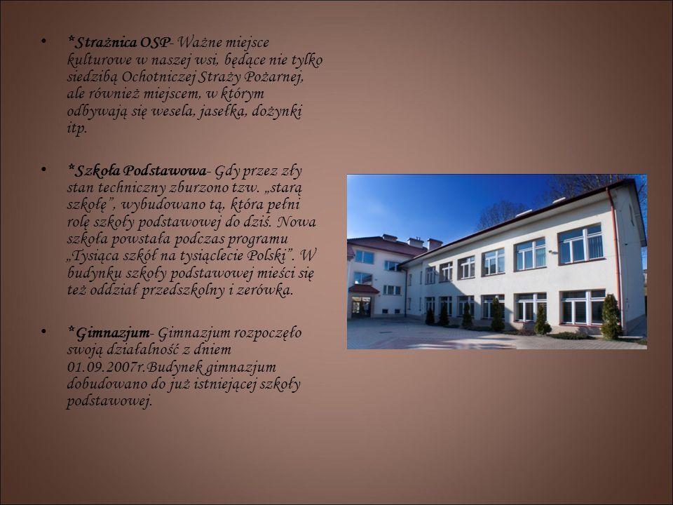 *Strażnica OSP- Ważne miejsce kulturowe w naszej wsi, będące nie tylko siedzibą Ochotniczej Straży Pożarnej, ale również miejscem, w którym odbywają s