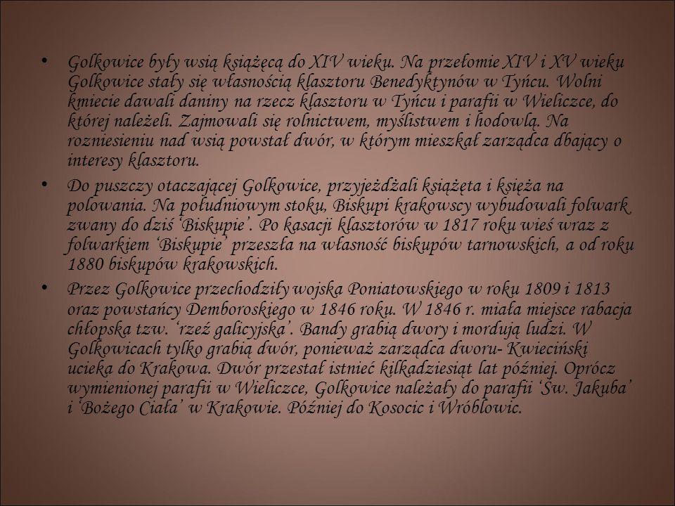 Golkowice były wsią książęcą do XIV wieku. Na przełomie XIV i XV wieku Golkowice stały się własnością klasztoru Benedyktynów w Tyńcu. Wolni kmiecie da
