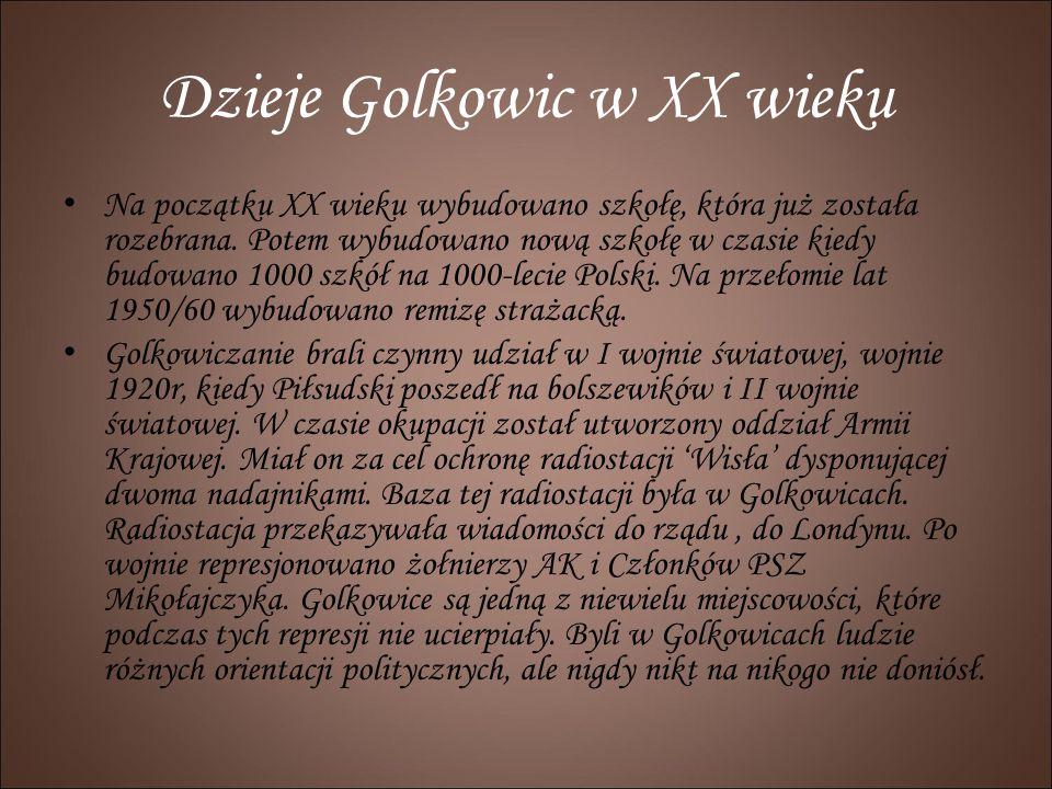 Dzieje Golkowic w XX wieku Na początku XX wieku wybudowano szkołę, która już została rozebrana. Potem wybudowano nową szkołę w czasie kiedy budowano 1