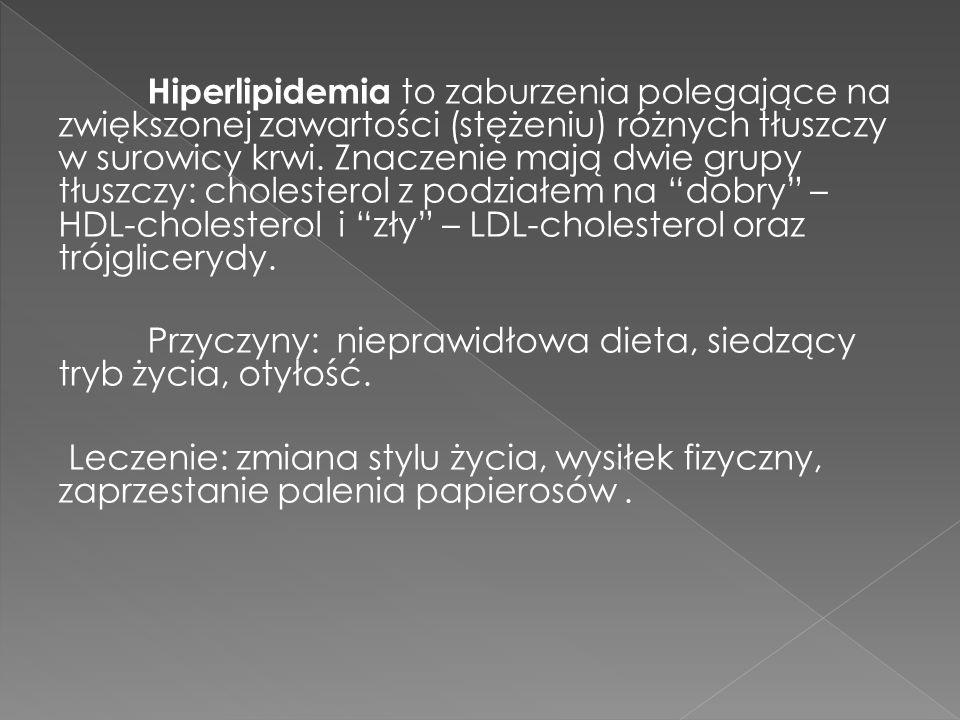 Hiperlipidemia to zaburzenia polegające na zwiększonej zawartości (stężeniu) różnych tłuszczy w surowicy krwi. Znaczenie mają dwie grupy tłuszczy: cho