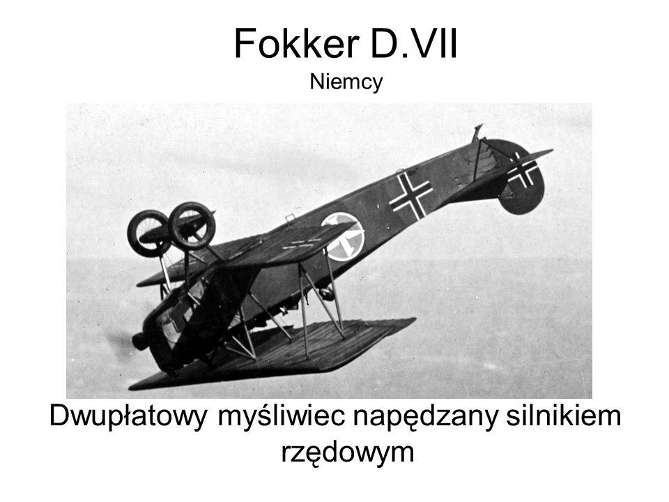 Fokker D.VII Niemcy Dwupłatowy myśliwiec napędzany silnikiem rzędowym