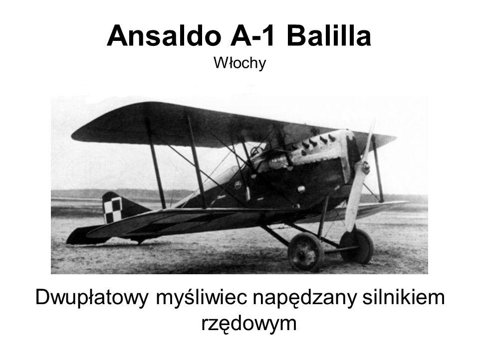 Ansaldo A-1 Balilla Włochy Dwupłatowy myśliwiec napędzany silnikiem rzędowym