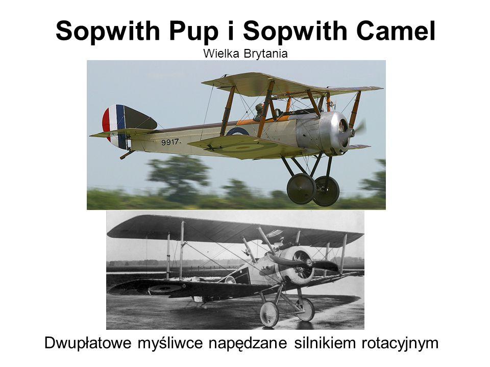 Sopwith Pup i Sopwith Camel Wielka Brytania Dwupłatowe myśliwce napędzane silnikiem rotacyjnym