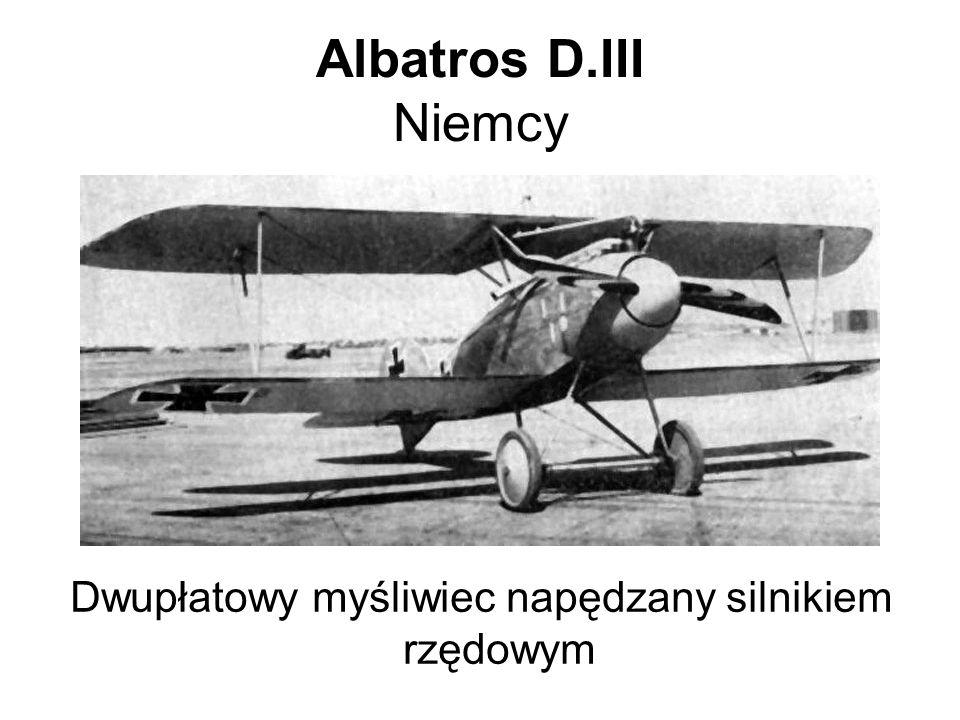 SPAD XIII Francja Dwupłatowy myśliwiec napędzany silnikiem rzędowym