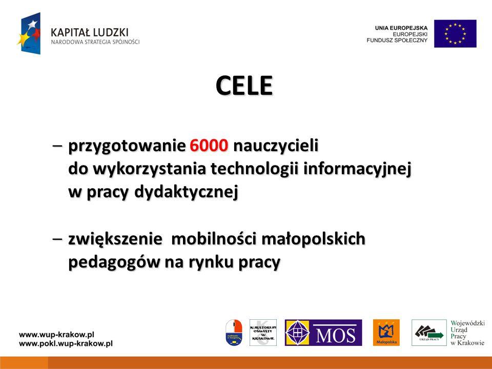 CELE –przygotowanie 6000 nauczycieli do wykorzystania technologii informacyjnej w pracy dydaktycznej –zwiększenie mobilności małopolskich pedagogów na