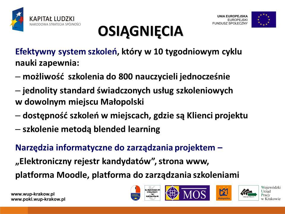 OSIĄGNIĘCIA Efektywny system szkoleń, który w 10 tygodniowym cyklu nauki zapewnia: – możliwość szkolenia do 800 nauczycieli jednocześnie – jednolity s