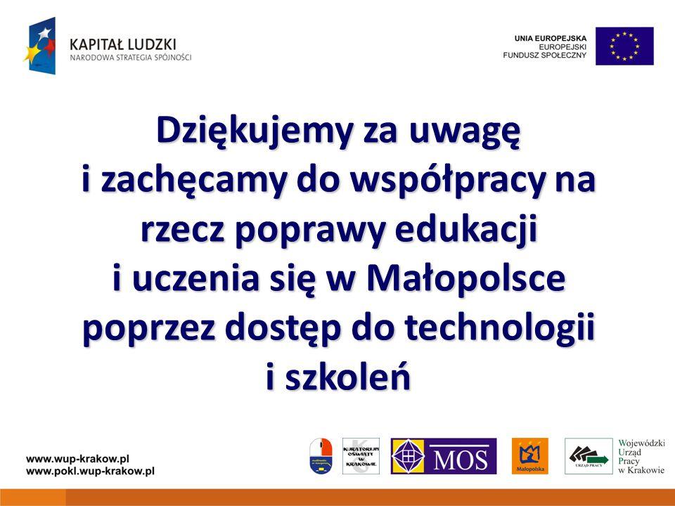 Dziękujemy za uwagę i zachęcamy do współpracy na rzecz poprawy edukacji i uczenia się w Małopolsce poprzez dostęp do technologii i szkoleń