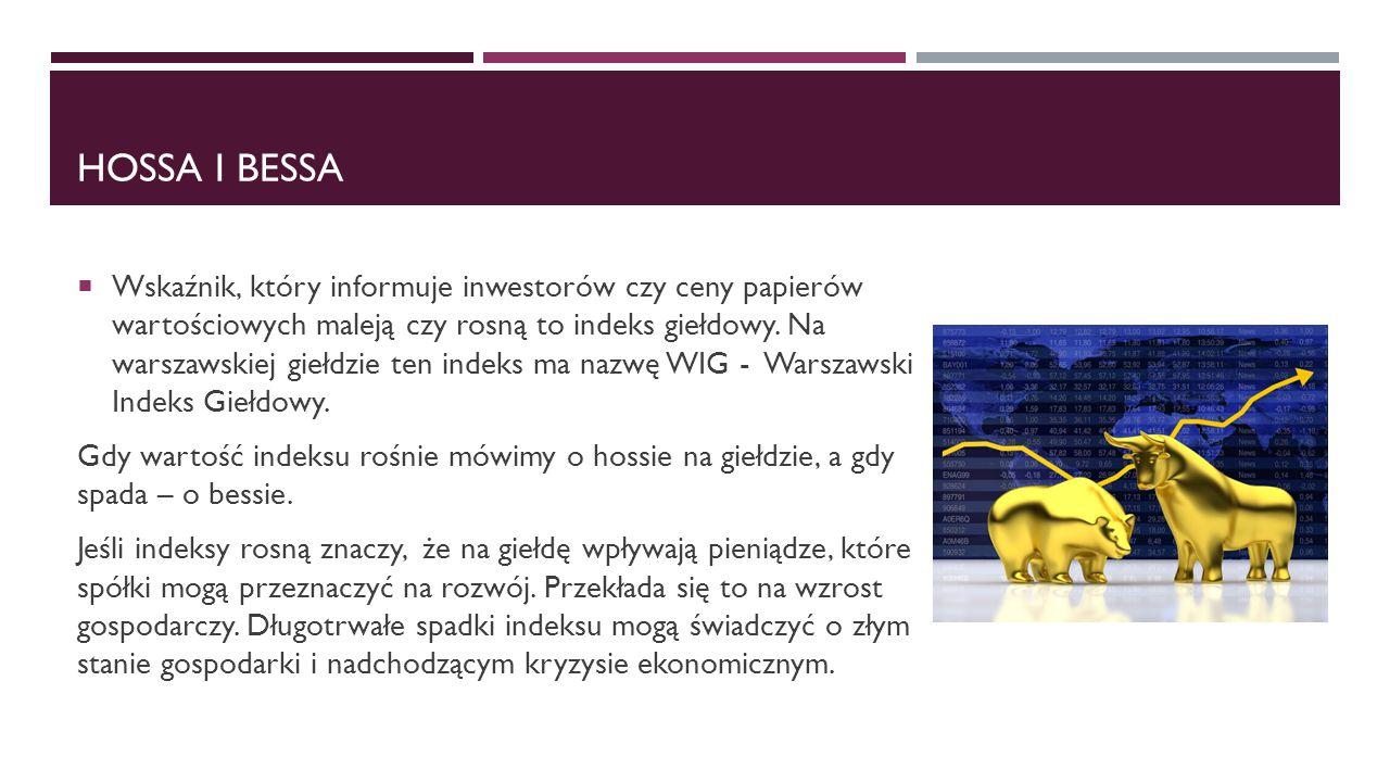 HOSSA I BESSA  Wskaźnik, który informuje inwestorów czy ceny papierów wartościowych maleją czy rosną to indeks giełdowy. Na warszawskiej giełdzie ten