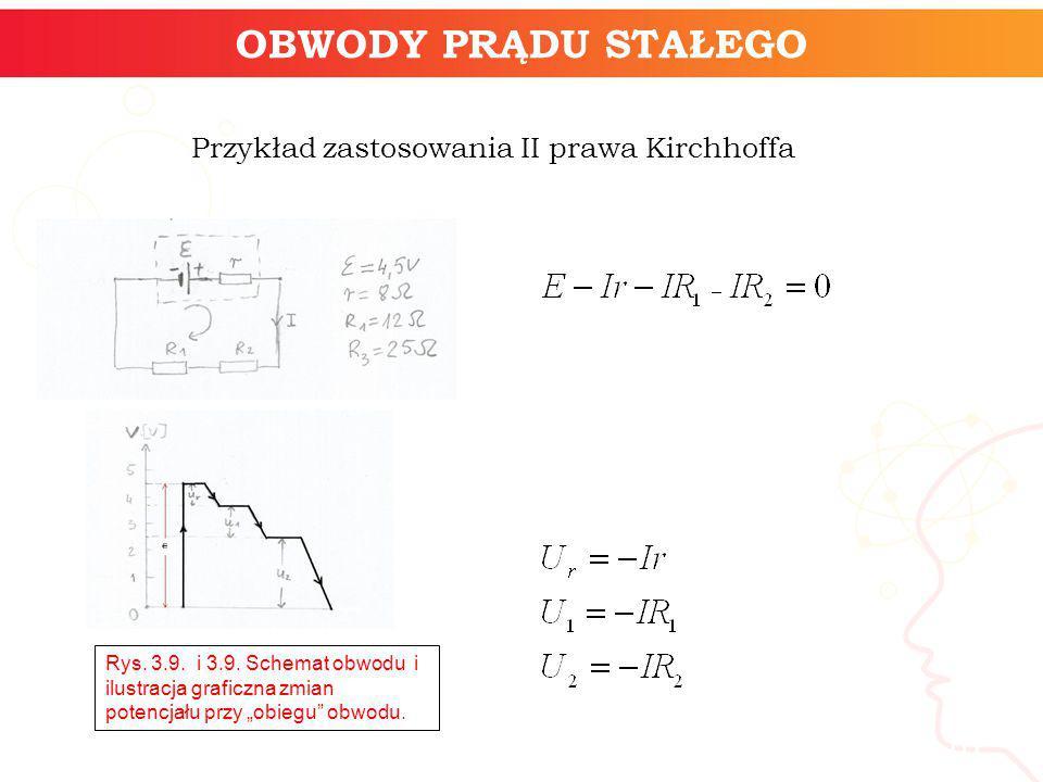 informatyka + 10 OBWODY PRĄDU STAŁEGO Przykład zastosowania II prawa Kirchhoffa Rys. 3.9. i 3.9. Schemat obwodu i ilustracja graficzna zmian potencjał