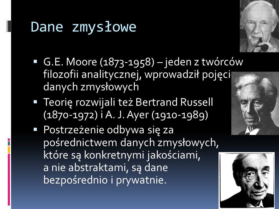 Dane zmysłowe  G.E. Moore (1873-1958) – jeden z twórców filozofii analitycznej, wprowadził pojęcie danych zmysłowych  Teorię rozwijali też Bertrand