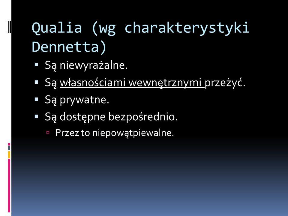 Qualia (wg charakterystyki Dennetta)  Są niewyrażalne.