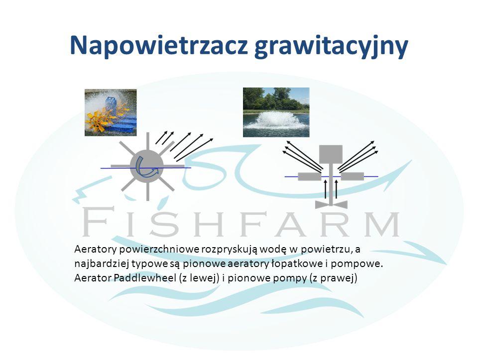 Napowietrzacz grawitacyjny Aeratory powierzchniowe rozpryskują wodę w powietrzu, a najbardziej typowe są pionowe aeratory łopatkowe i pompowe.