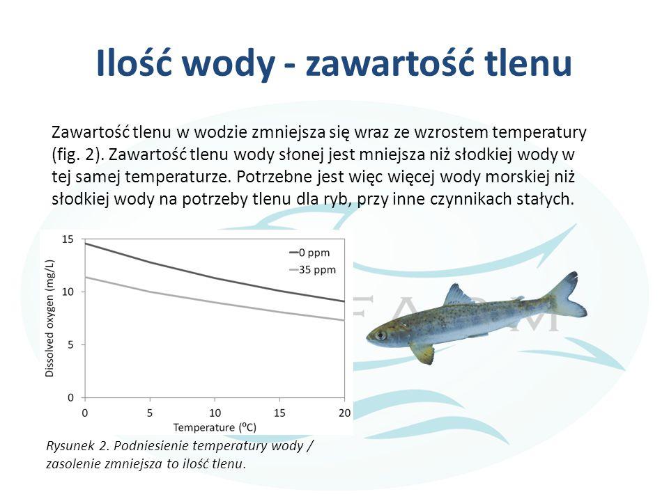 Ilość wody - zawartość tlenu Zawartość tlenu w wodzie zmniejsza się wraz ze wzrostem temperatury (fig.