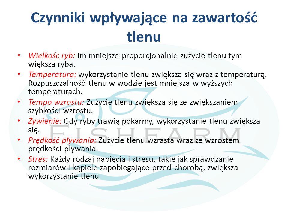 Przepływ wody Ilość (przepływ) wody stosowanej w hodowli ryb zależy od zużycia tlenu przez ryby i zawartości tlenu w wodzie.