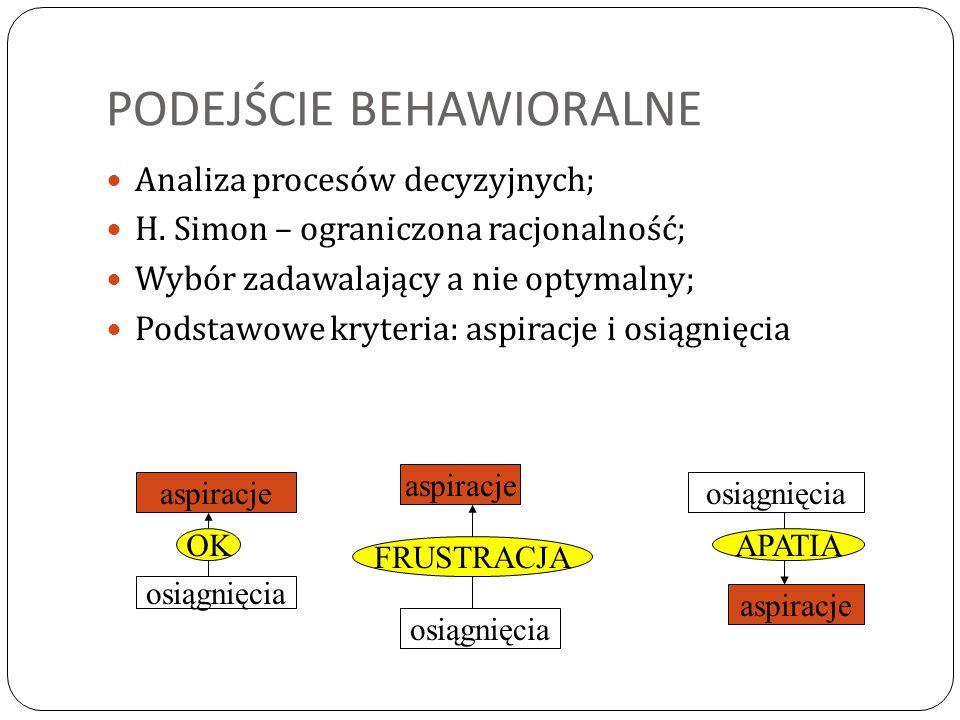 PODEJŚCIE BEHAWIORALNE Analiza procesów decyzyjnych; H. Simon – ograniczona racjonalność; Wybór zadawalający a nie optymalny; Podstawowe kryteria: asp