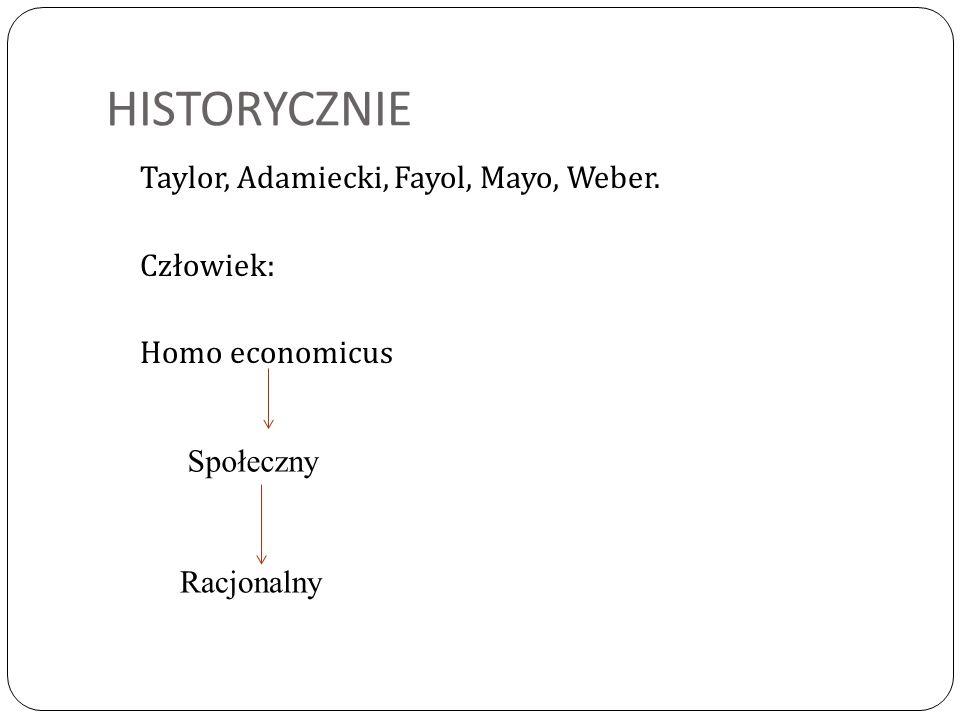HISTORYCZNIE Taylor, Adamiecki, Fayol, Mayo, Weber. Człowiek: Homo economicus Społeczny Racjonalny